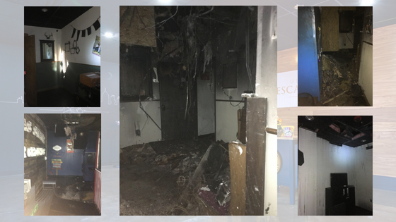 damage to the Ultimate Escape Room done by a fire